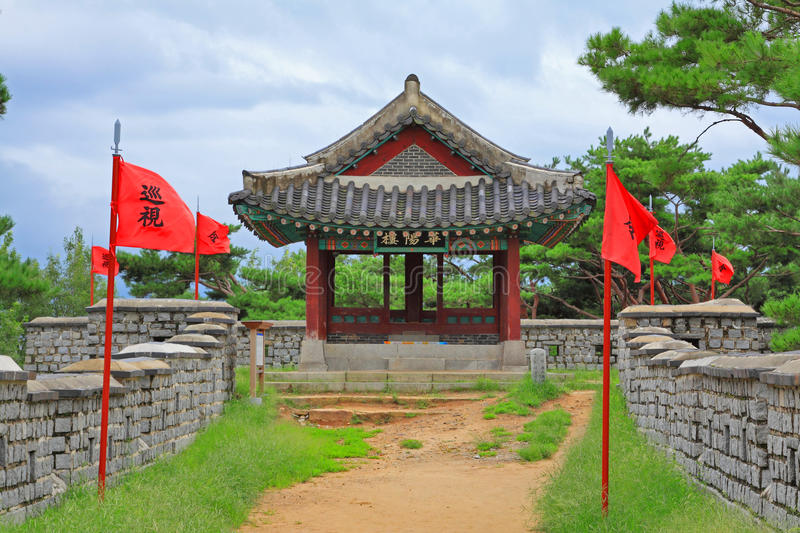 Board Of Korea UNESCO World Heritage Sites – Hwaseong Fortress - Pavilion. Hwaseong Fortress UNESCO World Heritage Sites is located in the Suwon city stock image