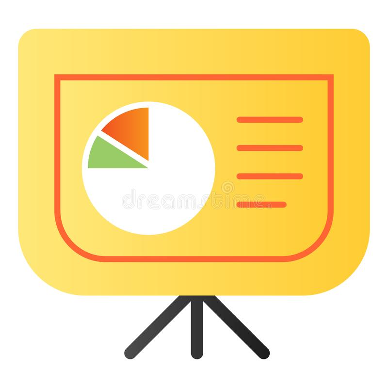 Board with pie chart flat icon. Graph color icons in trendy flat style. Presentation diagram gradient style design vector illustration