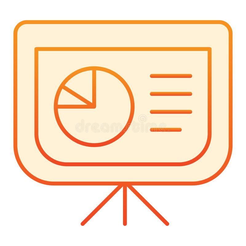 Board with pie chart flat icon. Graph orange icons in trendy flat style. Presentation diagram gradient style design. Designed for web and app. Eps 10 vector illustration