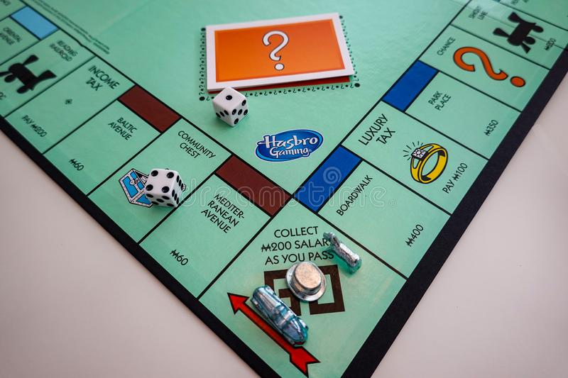 The Board and pieces for the game Monopoly by Hasbro. Orlando,FL/USA-8/29/19: The board and pieces for the game Monopoly by Hasbro on a white background stock photo