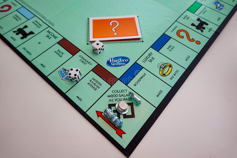 The Board and pieces for the game Monopoly by Hasbro. Orlando,FL/USA-8/29/19: The board and pieces for the game Monopoly by Hasbro on a white background royalty free stock image