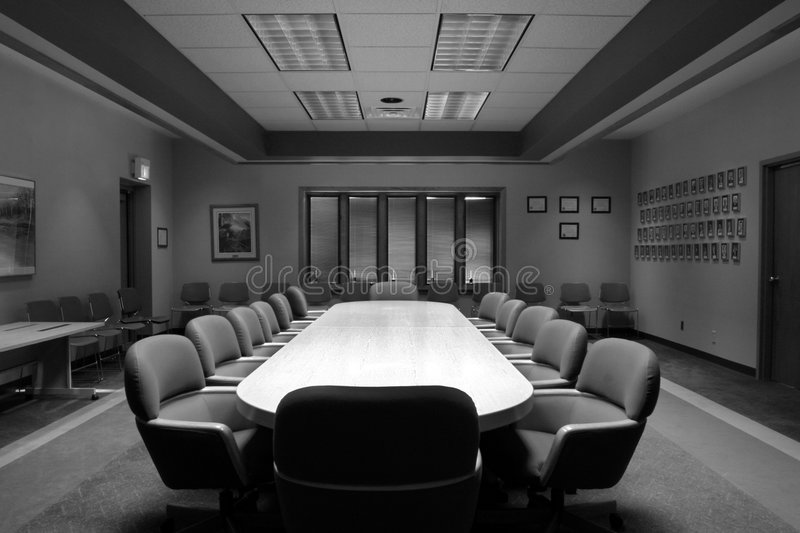 Board Room in Black and White royalty free stock photo
