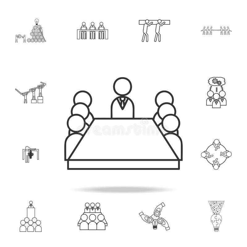 Board room members sitting around a table icon. Detailed set of team work outline icons. Premium quality graphic design icon. One vector illustration