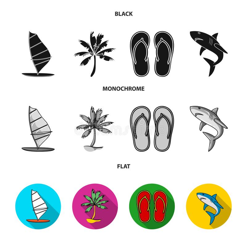Board with a sail, a palm tree on the shore, slippers, a white shark. Surfing set collection icons in black, flat stock illustration