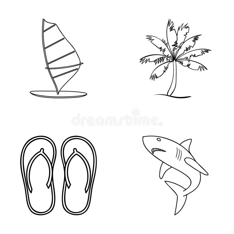 Board with a sail, a palm tree on the shore, slippers, a white shark. Surfing set collection icons in outline style royalty free illustration