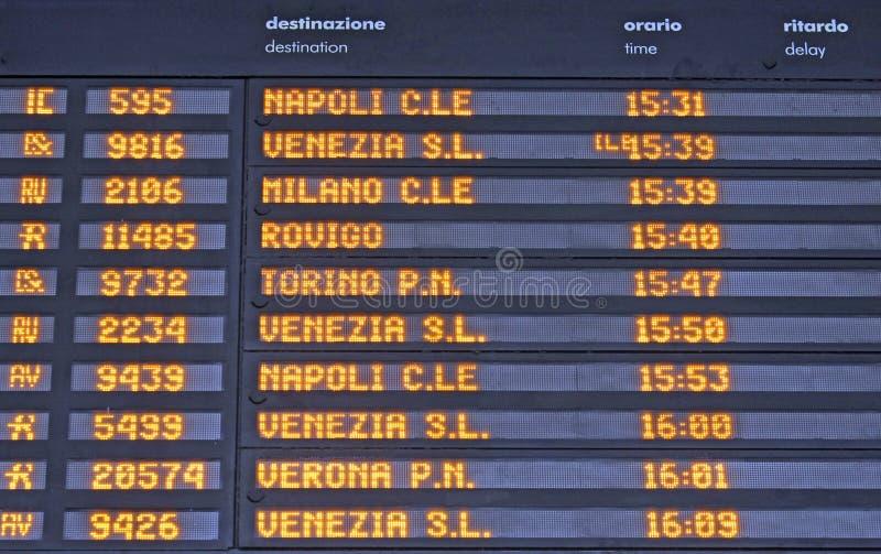 Board schedules of departures stock image