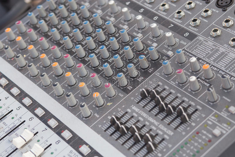 Board sound mixer. Details of the control board sound mixer royalty free stock images