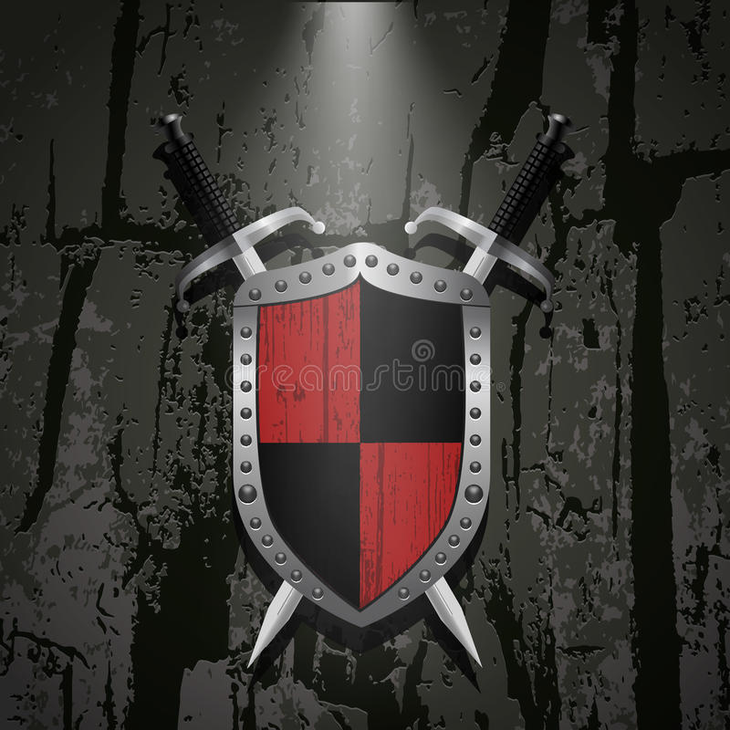 Board on a stone wall background behind it two swords eps 10. Board on a stone wall background behind it two metal swords eps 10 royalty free illustration