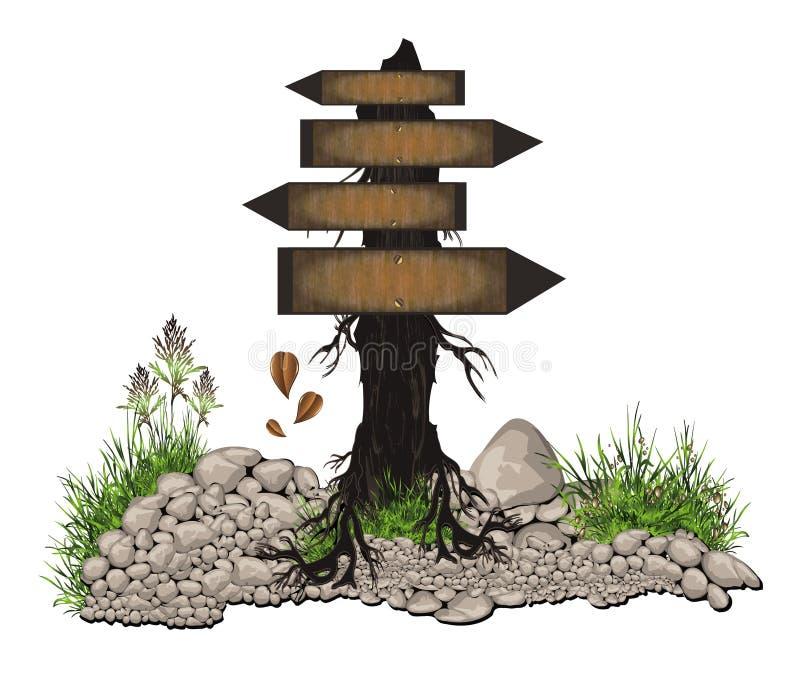 Board tree wood. Stone grass stock illustration