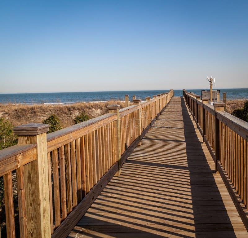 Board walk to the beach. stock photos