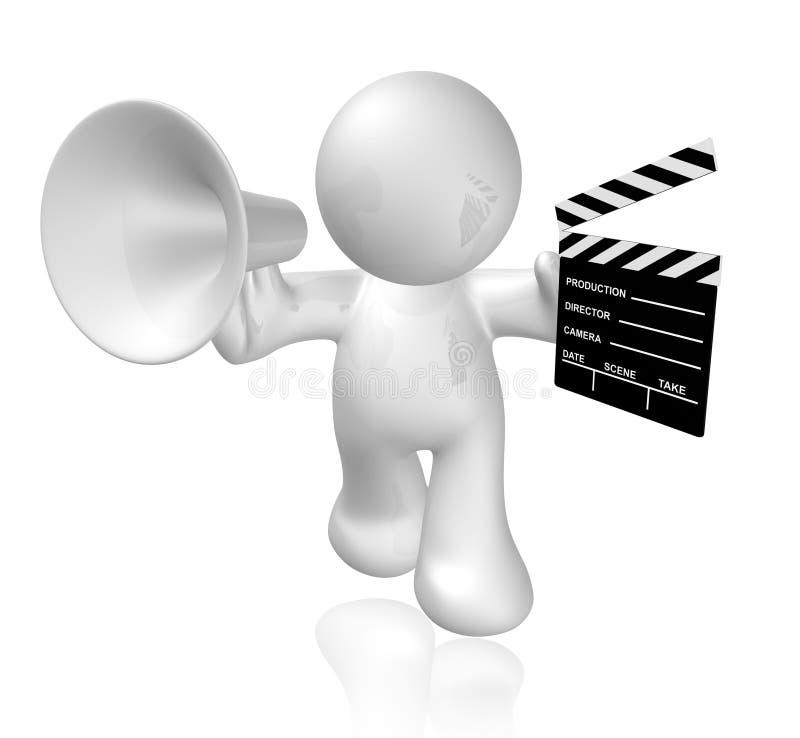 board white för platsen för symbolen för holdingen för applådfilmgrabben royaltyfri illustrationer