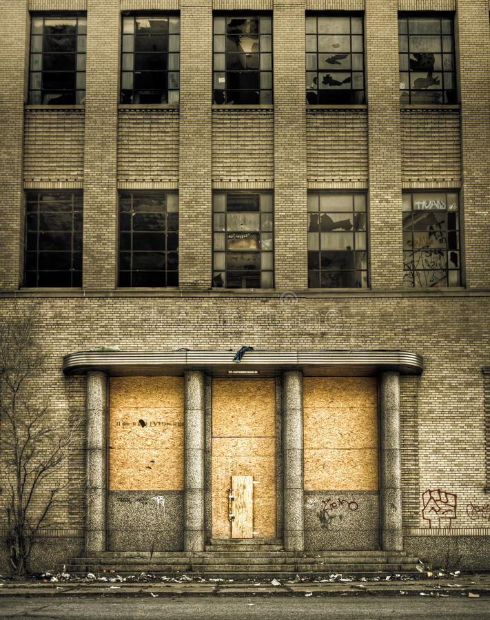 Boarded Up Abandoned Building Entrance royalty free stock photography