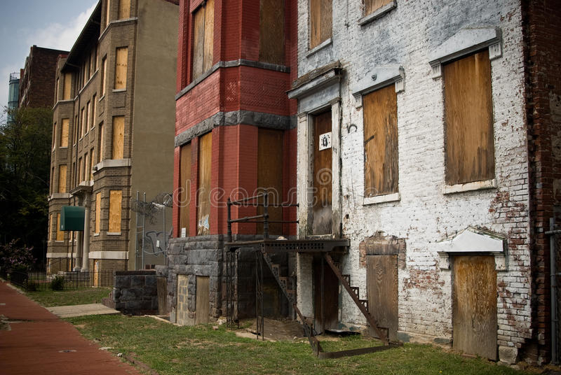 Boarded Up Abandoned Homes royalty free stock photography