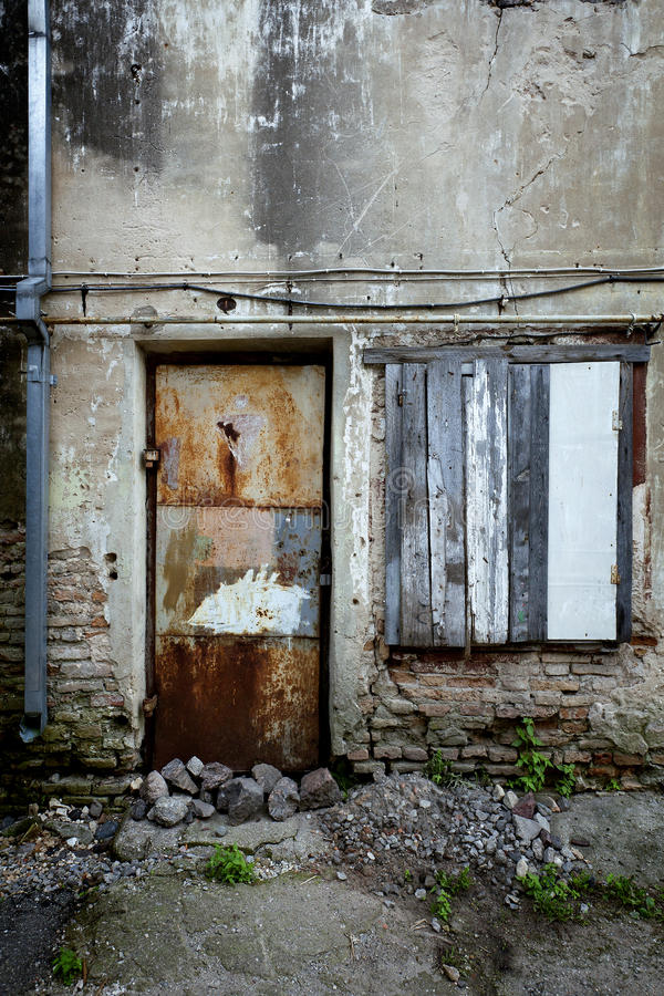 Download Boarded Up Window And Rusty Door Stock Photo - Image: 21593218