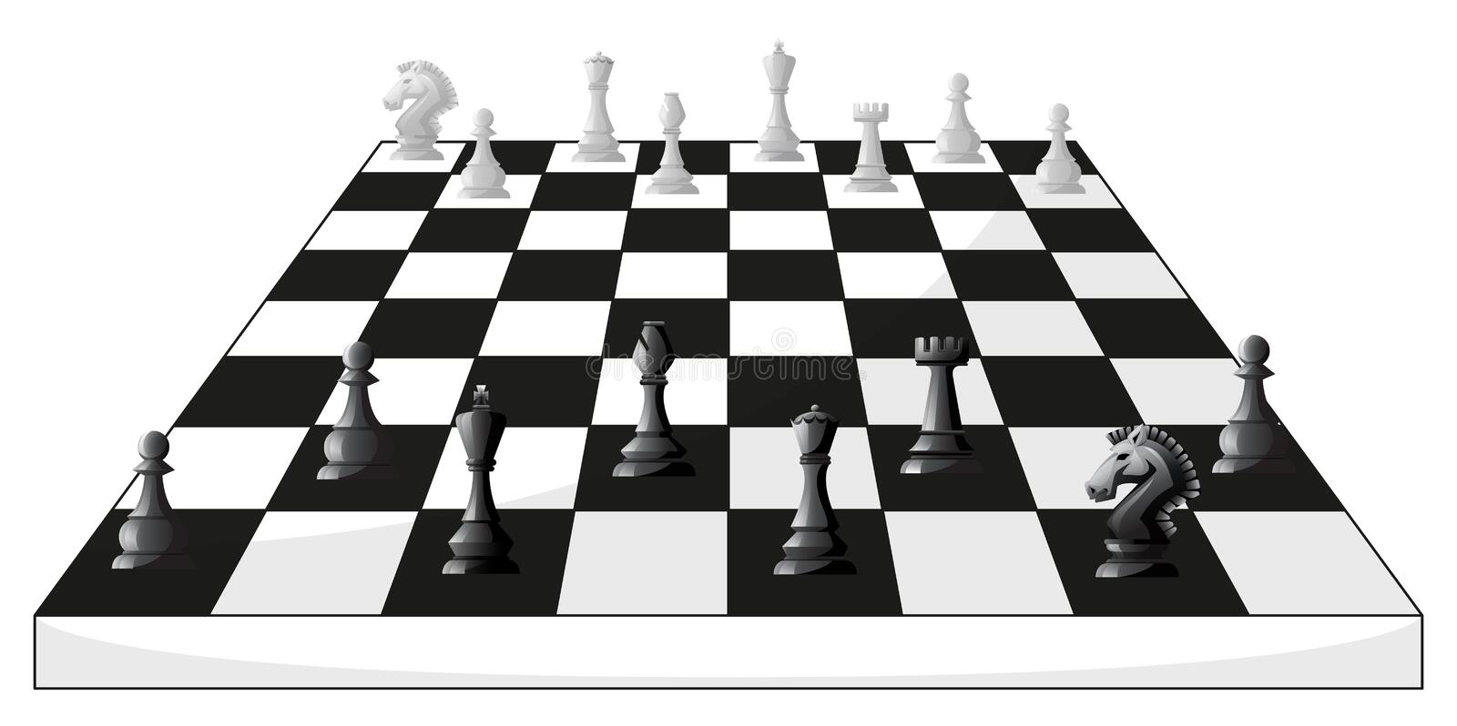 Boardgame of chess in black and white stock illustration