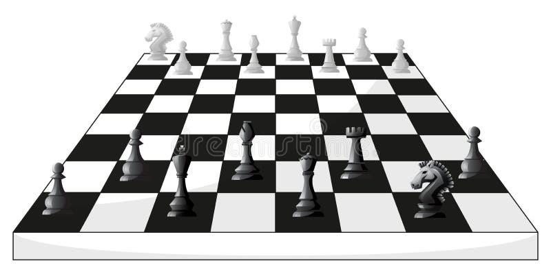 Boardgame des Schachs in Schwarzweiss stock abbildung