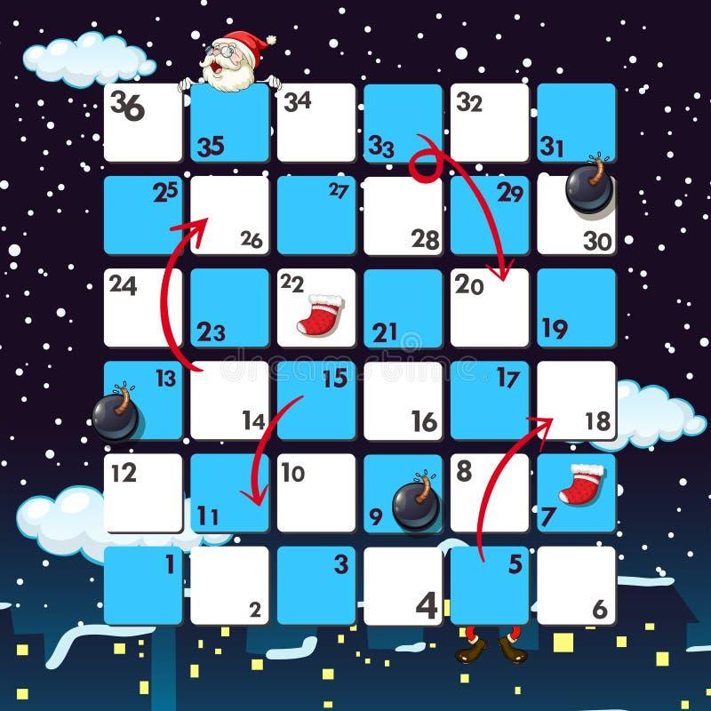 Boardgame-Schablone mit Sankt nachts lizenzfreie abbildung