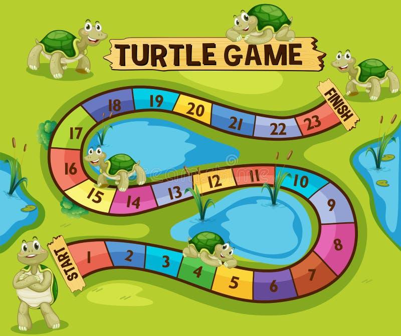 Boardgame szablon z żółwiami w stawie ilustracja wektor