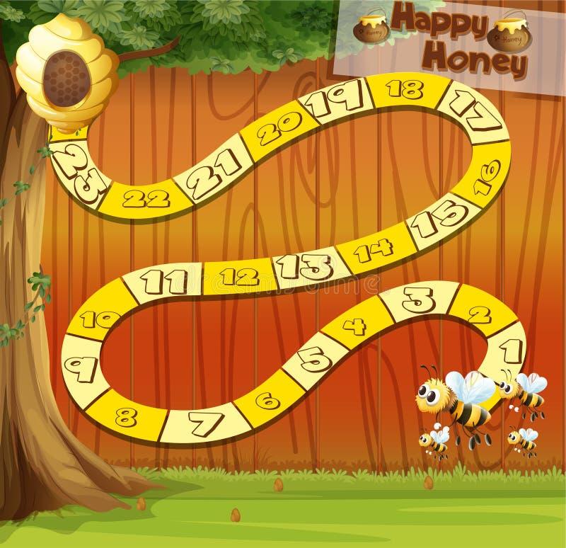 Boardgame szablon z pszczół latać royalty ilustracja