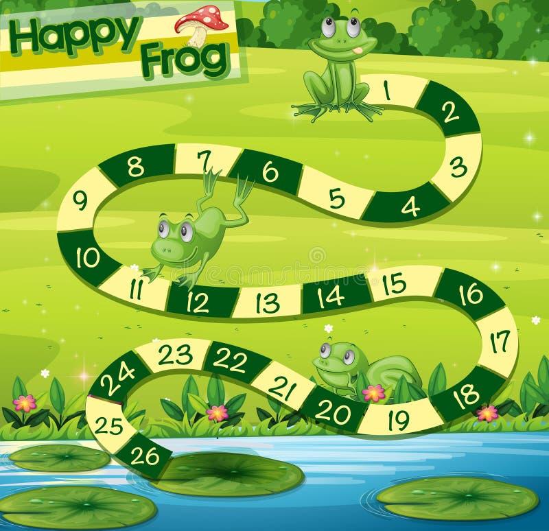 Boardgame szablon z zielonymi żabami w parku ilustracja wektor