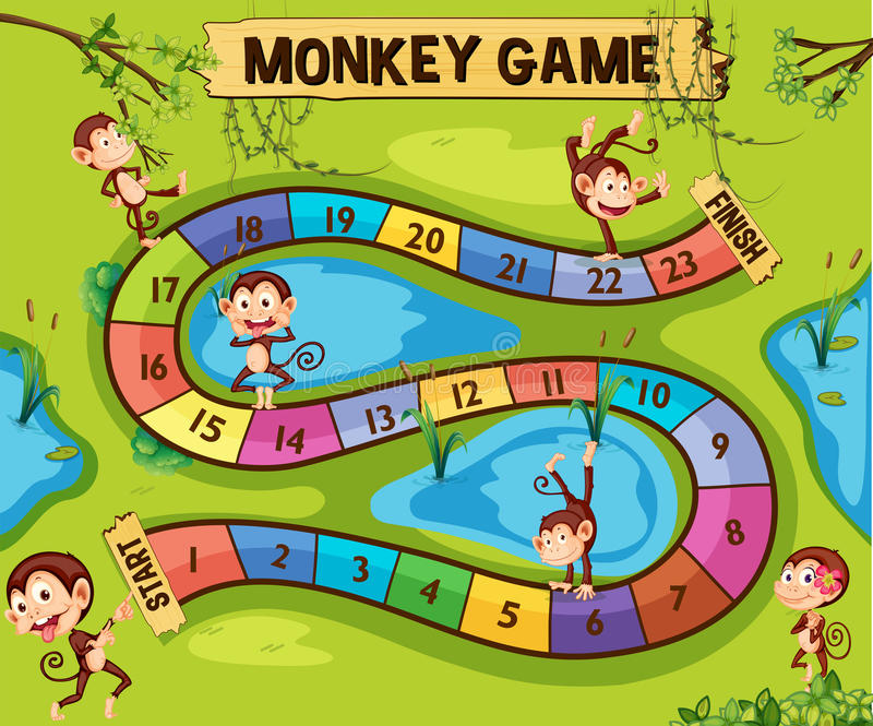 Boardgamemalplaatje met apen in wildernis stock illustratie