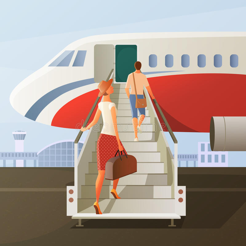 Boarding In Airplane Composition royalty free illustration