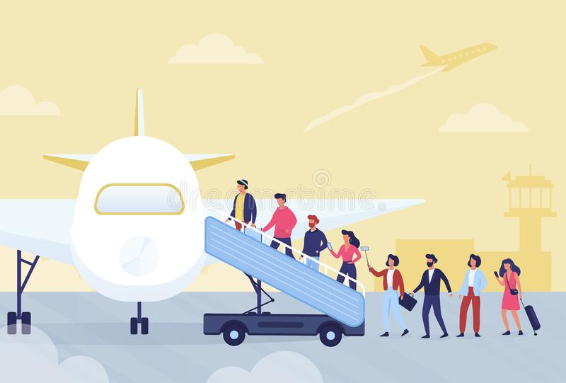 Boarding in airplane concept. People waiting in line vector illustration