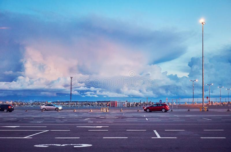 Boarding area of Tallinn sea port, with stormy skies in the early morning royalty free stock photo
