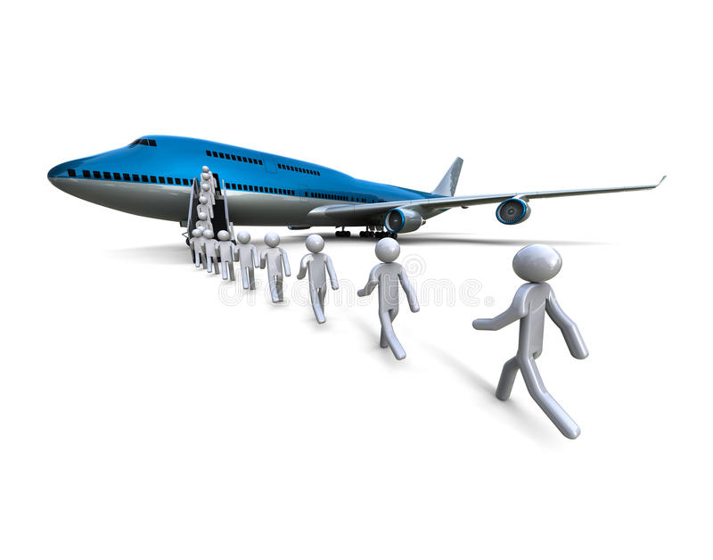 Boarding Concept. 3D render image of a jet plane with a boarding line vector illustration