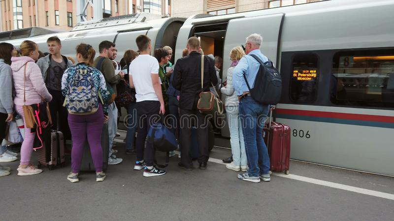 Boarding the high-speed Sapsan train royalty free stock photos