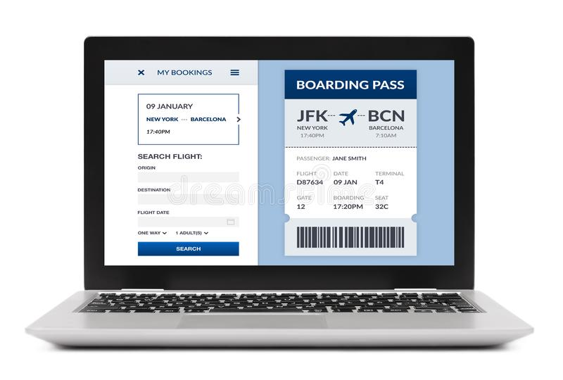 Boarding pass concept on laptop screen isolated stock image