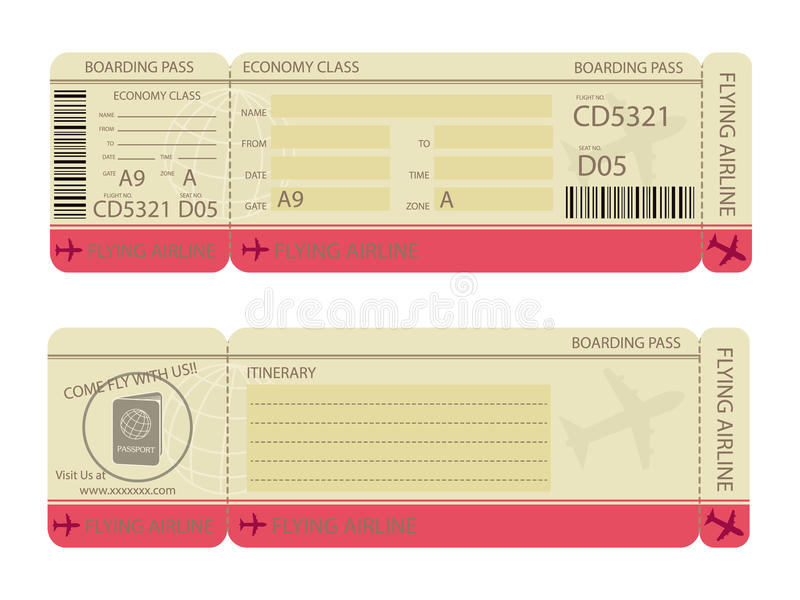 Boarding Pass Design Template Stock Vector - Illustration of tourism ...