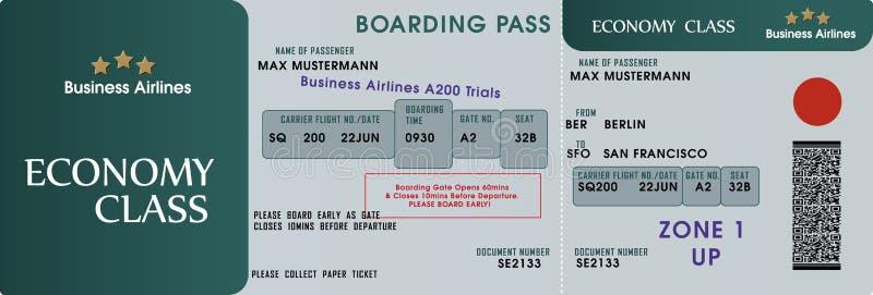 Boarding pass template. A vectorized boarding pass template