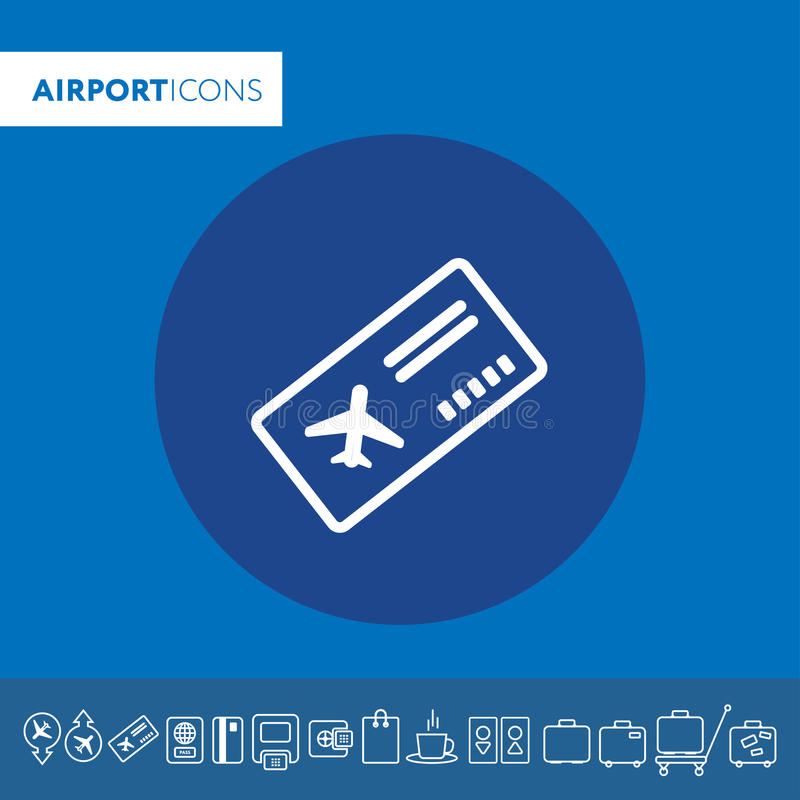 Boarding pass thin icon illustration Part of travel icons set. V royalty free illustration