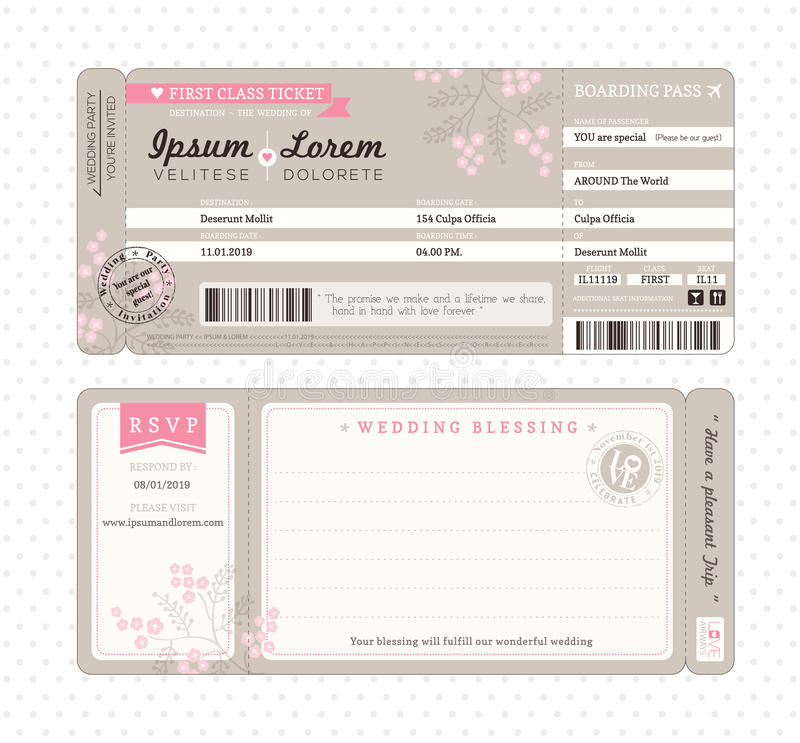 Boarding Pass Wedding Invitation Template. Boarding Pass Ticket Wedding Invitation Template Vector vector illustration