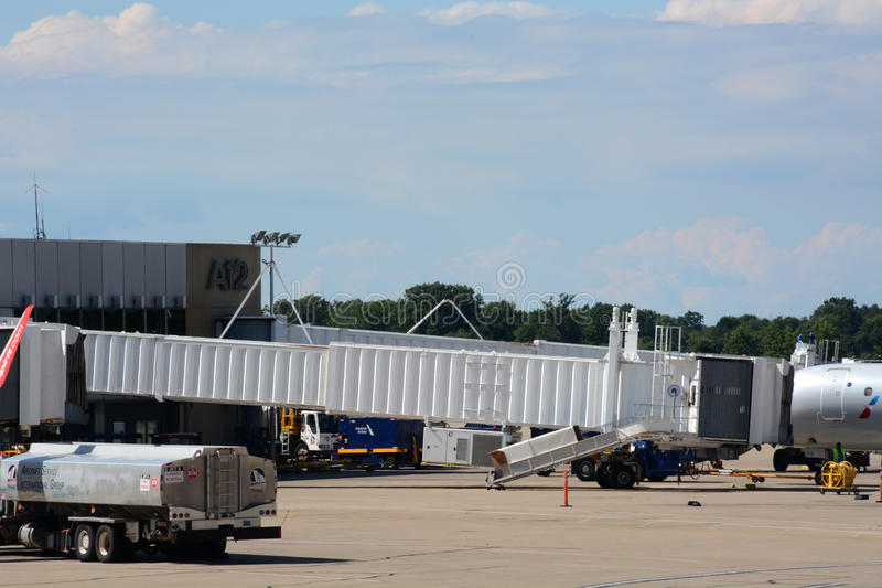 Boarding ramps. And equipment at a gate at Cleveland Hopkins International airport in Cleveland, Ohio. Site of the Republican National Convention royalty free stock images