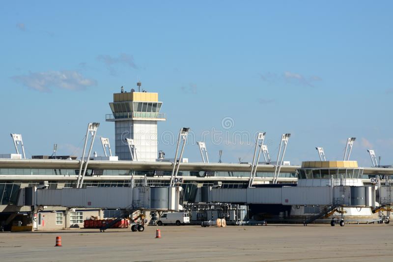 Boarding ramps. And equipment at a gate at Cleveland Hopkins International airport in Cleveland, Ohio. Site of the Republican National Convention stock photo