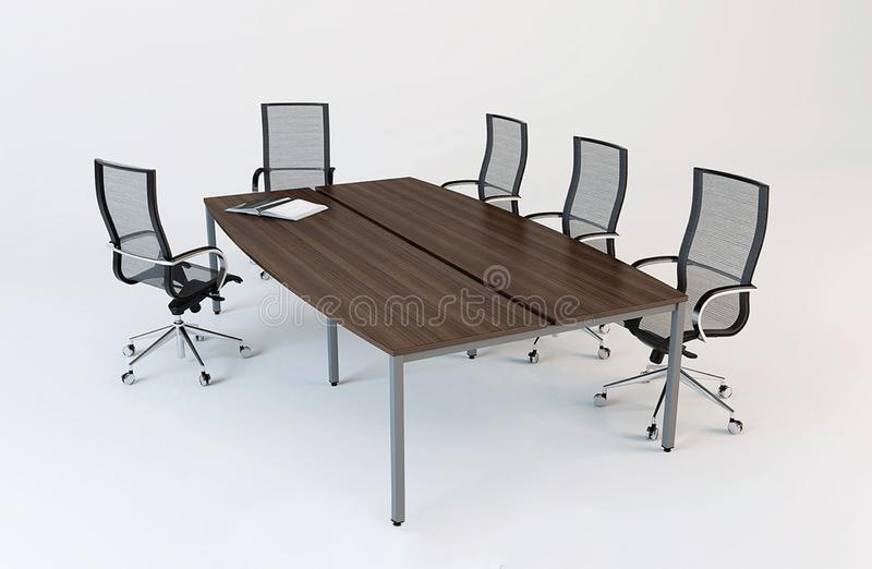 boardroom representación 3D de una mesa de reuniones y de una oficina ilustración del vector