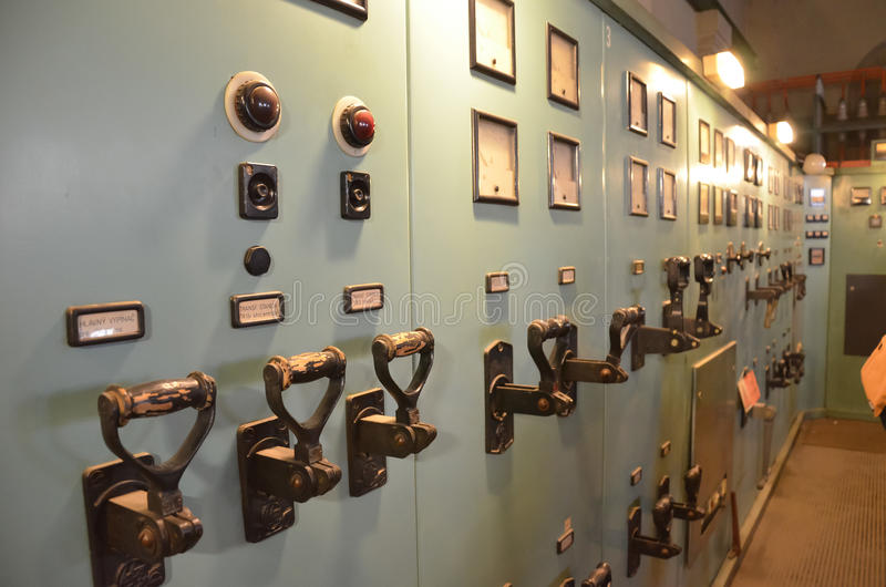 Boards with power switches. Power control room with switches and measuring displays royalty free stock photos