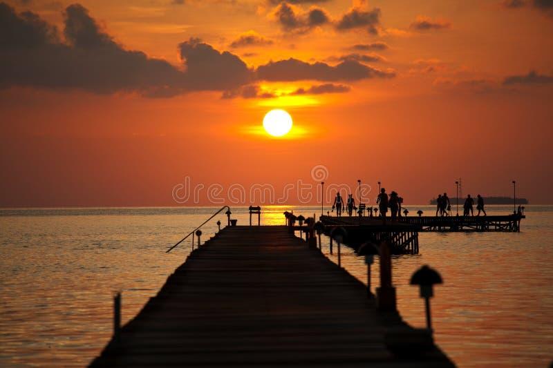 Boardwalk on beach royalty free stock photography