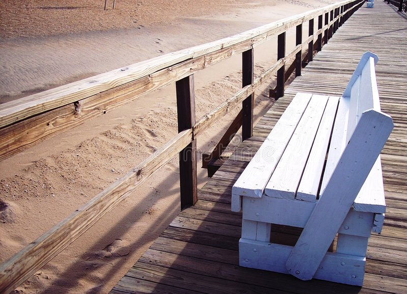 Boardwalk bench royalty free stock photos