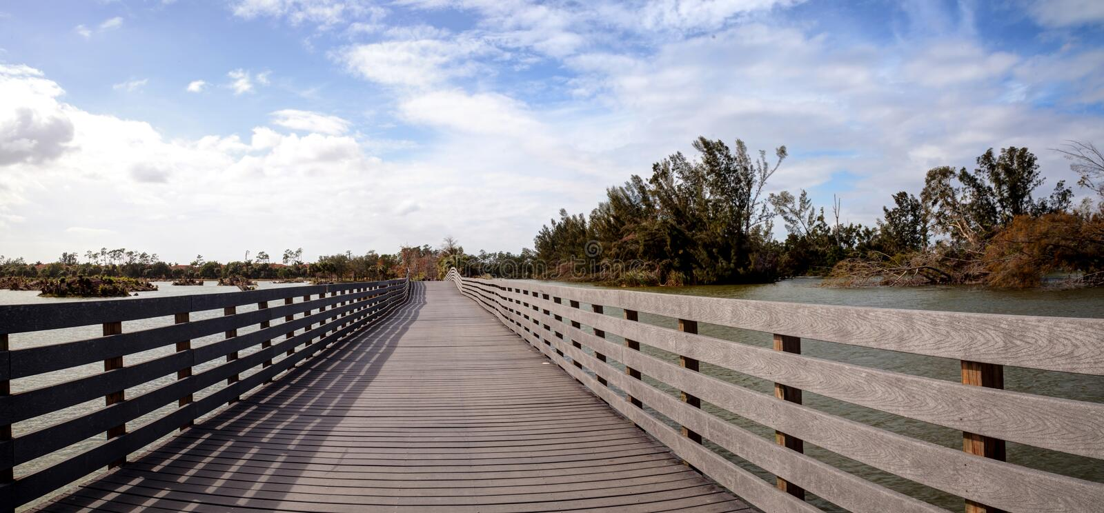 Boardwalk goes through the swamp at Lakes Park and shows Hurricane Irma damage stock photos