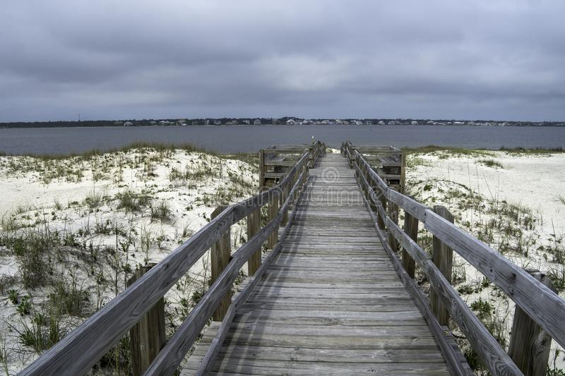 Boardwalk at Gulf Islands National Seashore. In Florida with Sky royalty free stock images