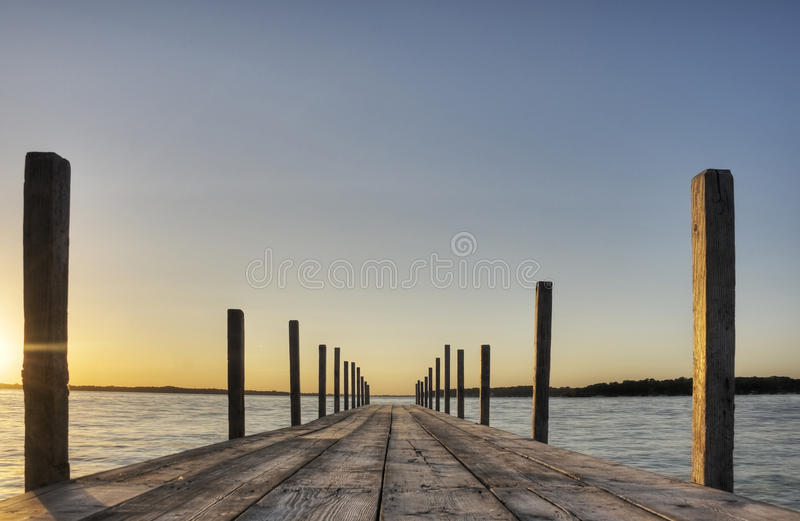 Boardwalk in Iowa. At Sunset, HDR royalty free stock photos
