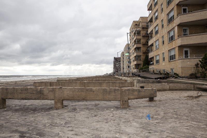 Boardwalk jest mył daleko od podczas Huraganowy Sandy obrazy royalty free