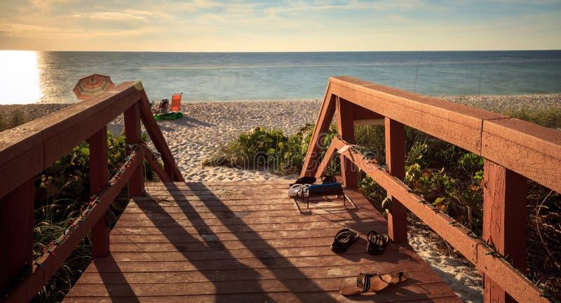 Boardwalk leading down to Vanderbilt Beach. In Naples, Florida, USA stock images