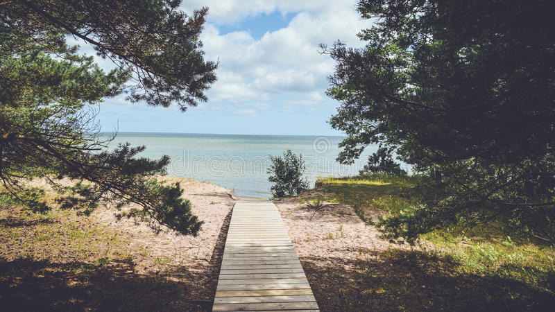 Boardwalk leading to beach royalty free stock images