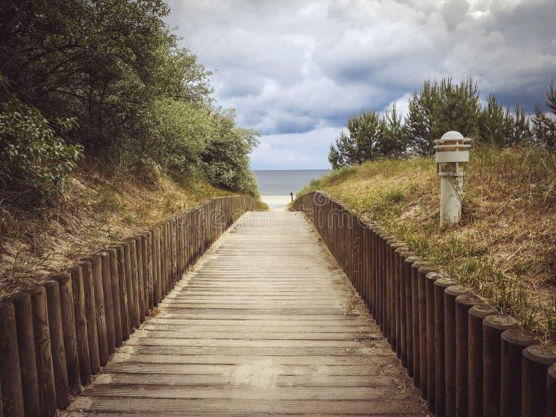 Boardwalk leading to beach royalty free stock photo
