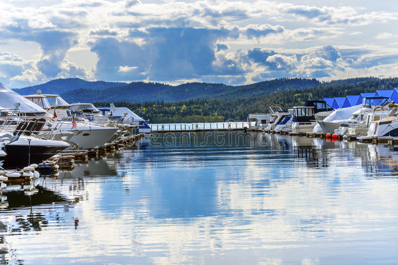Download Boardwalk Marina Piers Boats Reflection Lake Coeur D`Alene Idaho Stock Photo - Image of marina, outdoors: 93821442