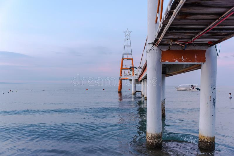 Boardwalk at Morong Beach, Bataan, Philippines.  stock photo